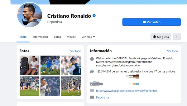contactar cristiano ronaldo facebook